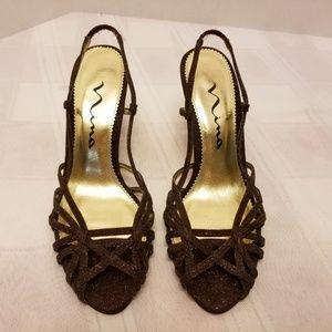 EUC Nina Brown Strappy Sandals Size 5 1/2 M EU 35.